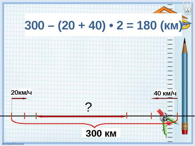 300 – (20 + 40) • 2 = 180 (км) 300 км 40 км/ч 20км/ч ?