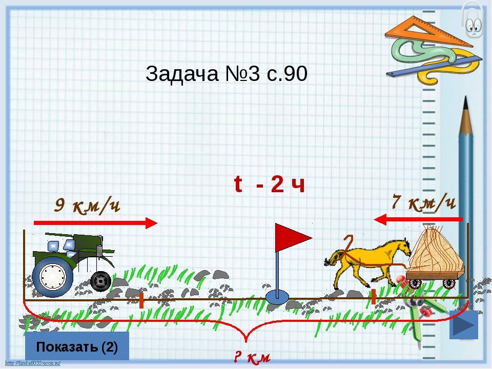 9 км/ч 7 км/ч Показать (2) ? км t - 2 ч Задача №3 с.90