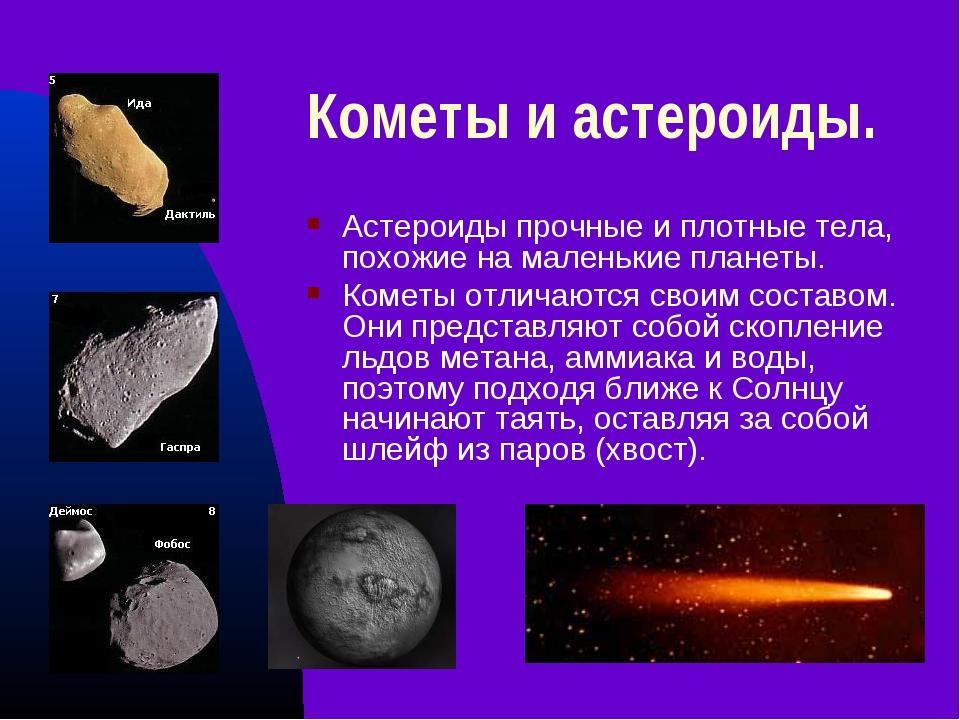 Кометы и астероиды. Астероиды прочные и плотные тела, похожие на маленькие пл...