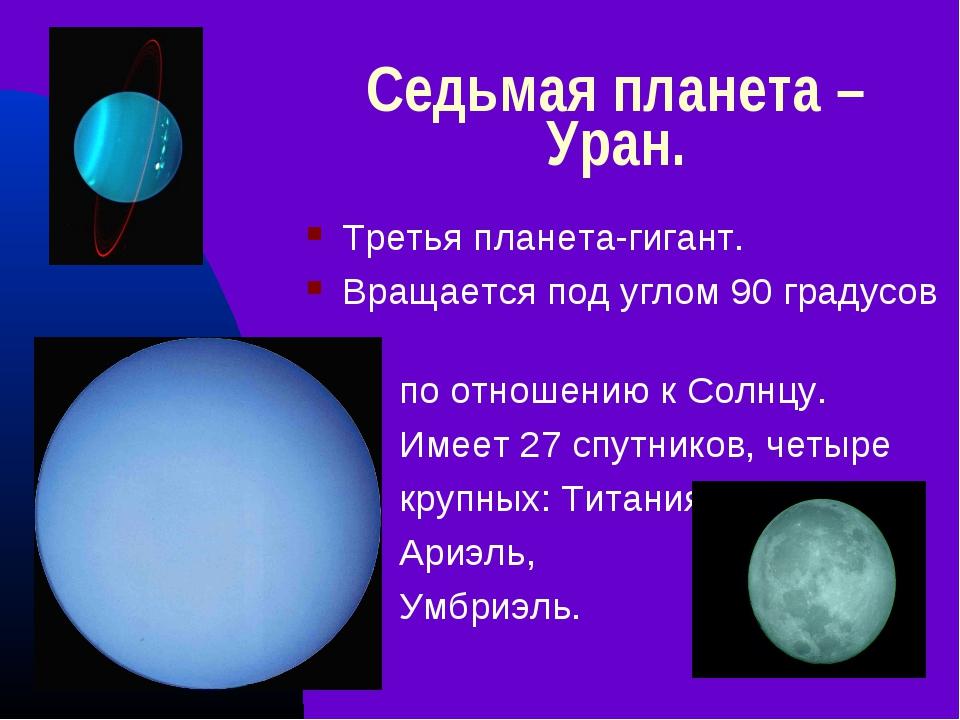 Седьмая планета – Уран. Третья планета-гигант. Вращается под углом 90 градусо...