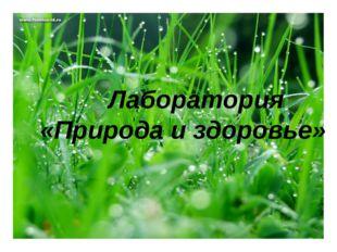 Лаботатория «Природа и здоровье» Лаборатория «Природа и здоровье»