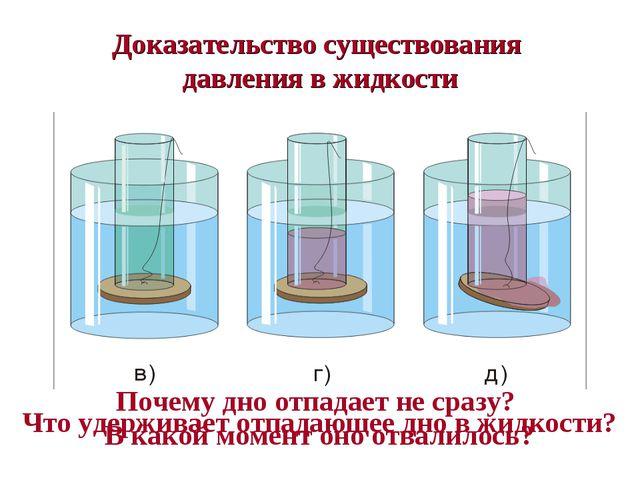 Доказательство существования давления в жидкости Что удерживает отпадающее дн...