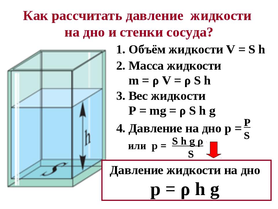 Как рассчитать давление жидкости на дно и стенки сосуда? 1. Объём жидкости V...