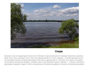 Озера Крупных озер на территории области нет. Мелкие озера встречаются главн