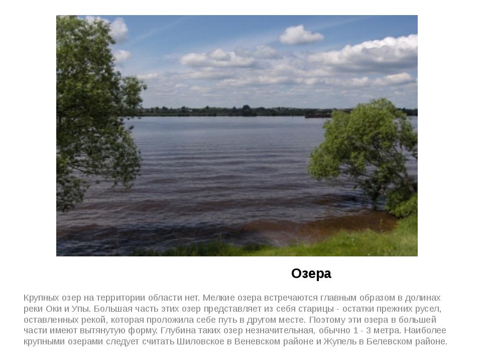 Озера Крупных озер на территории области нет. Мелкие озера встречаются главн...