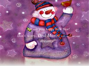 We wish you happy New Year! Don`t worry, Ded Moroz will carry out your dreams