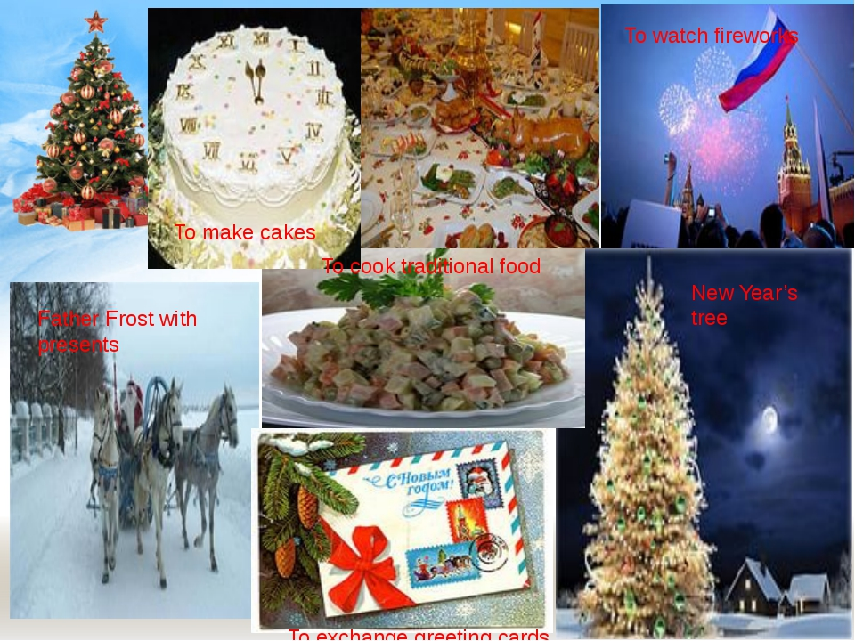 To make cakes To cook traditional food To watch fireworks Father Frost with p...