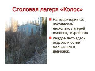 Столовая лагеря «Колос» На территории с/с находилось несколько лагерей «Колос