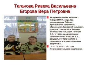 Таганова Ривека Васильевна Егорова Вера Петровна История поселения началась с