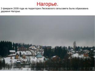 3 февраля 2009 года на территории Лесковского сельсовета была образована дере