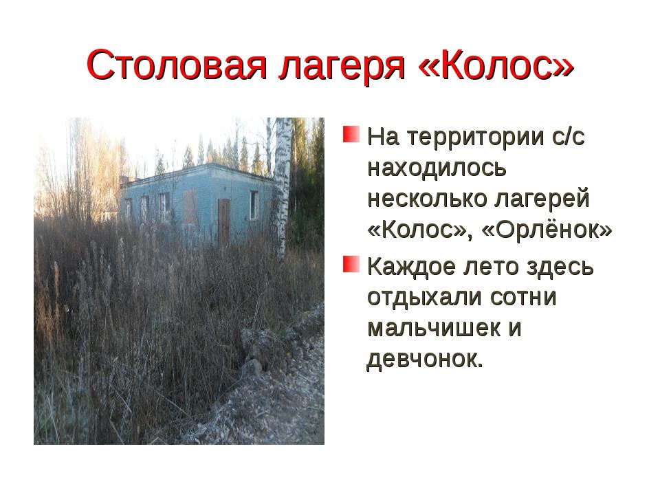 Столовая лагеря «Колос» На территории с/с находилось несколько лагерей «Колос...