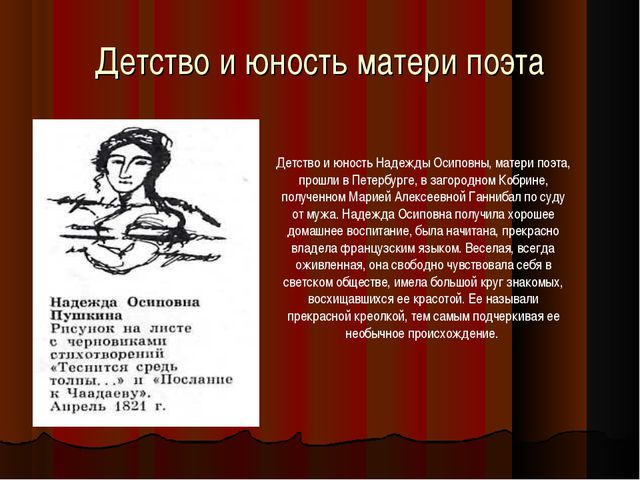 Детство и юность матери поэта Детство и юность Надежды Осиповны, матери поэта...