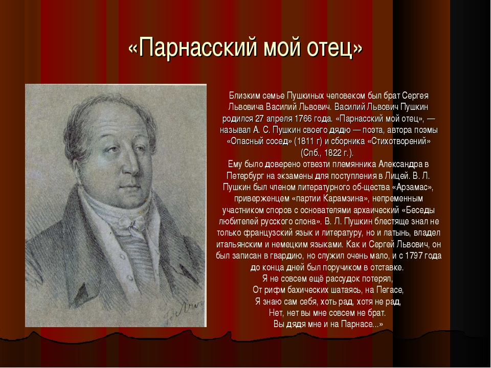 «Парнасский мой отец» Близким семье Пушкиных человеком был брат Сергея Львови...