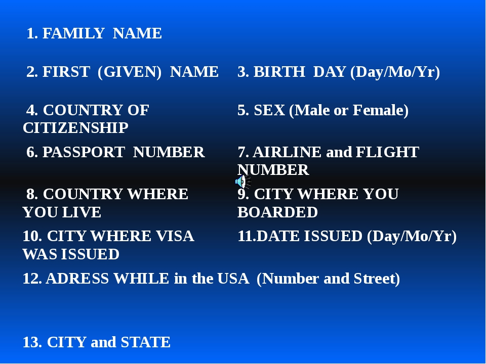 1. FAMILY NAME 2. FIRST (GIVEN) NAME 3. BIRTH DAY (Day/Mo/Yr) 4. COUNTRY OF...