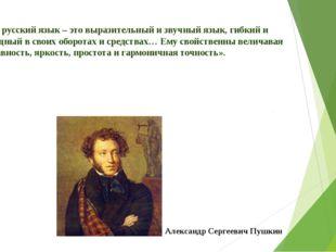 «… русский язык – это выразительный и звучный язык, гибкий и мощный в своих о