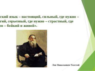 «Русский язык – настоящий, сильный, где нужно – строгий, серьезный, где нужно