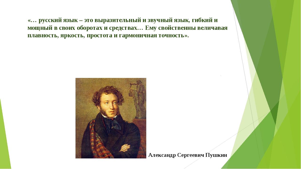 «… русский язык – это выразительный и звучный язык, гибкий и мощный в своих о...