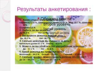 Результаты анкетирования : Какие сладости вы предпочитаете? Карамель-17.8 %;