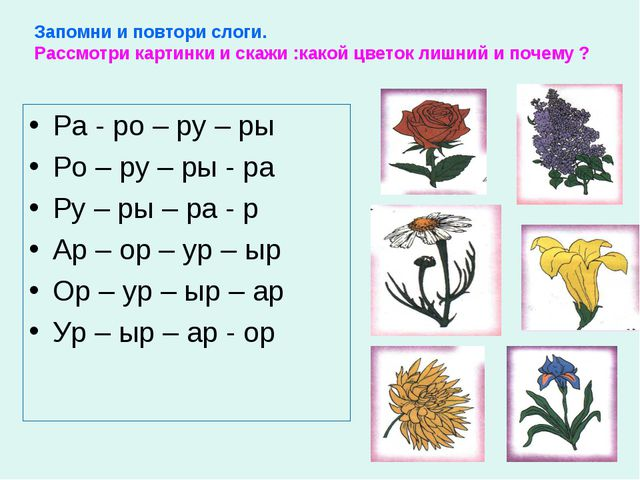 Запомни и повтори слоги. Рассмотри картинки и скажи :какой цветок лишний и по...
