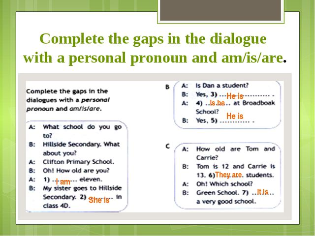 Complete the gaps in the dialogue with a personal pronoun and am/is/are. I am...