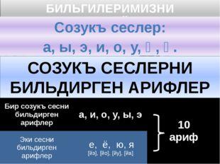 БИЛЬГИЛЕРИМИЗНИ ТЕКРАРЛАЙЫКЪ: Созукъ сеслер: а, ы, э, и, о, у, ӧ, ӱ. СОЗУКЪ С