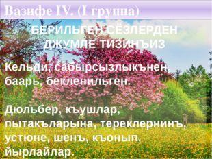 Вазифе IV. (I группа) БЕРИЛЬГЕН СЁЗЛЕРДЕН ДЖУМЛЕ ТИЗИНЪИЗ Кельди, сабырсызлык