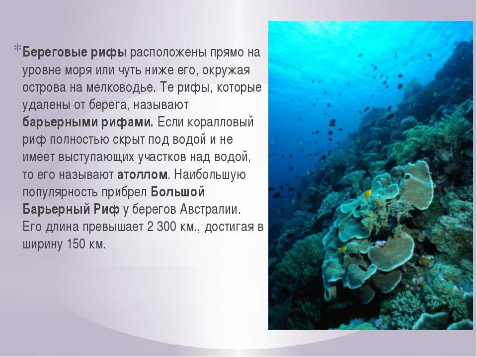 Береговые рифы расположены прямо на уровне моря или чуть ниже его, окружая ос...