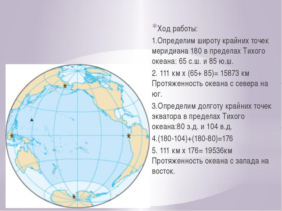 Ход работы: 1.Определим широту крайних точек меридиана 180 в пределах Тихого...