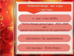 """Мемлекетіміздің маңызды құжаттары «Қазақстан-2030» «Балапан» бағдарламасы """"Б"""