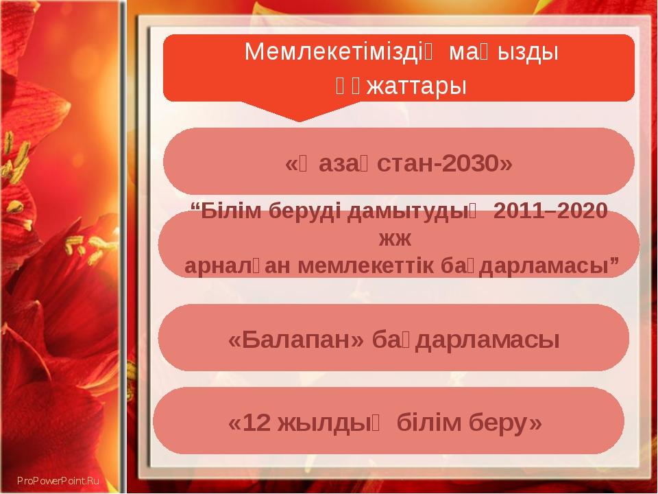"""Мемлекетіміздің маңызды құжаттары «Қазақстан-2030» «Балапан» бағдарламасы """"Б..."""