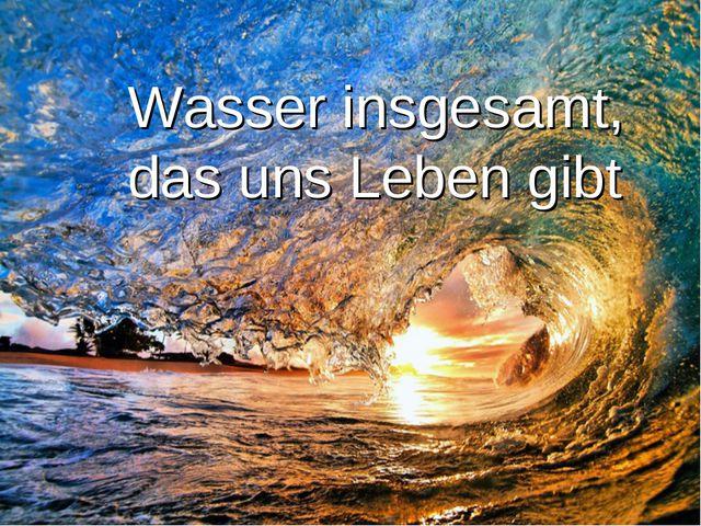Wasser insgesamt, das uns Leben gibt