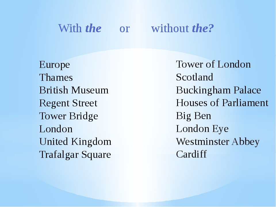 With the or without the? Europe Thames British Museum Regent Street Tower Bri...