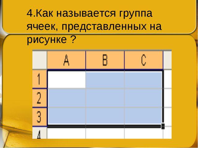 4.Как называется группа ячеек, представленных на рисунке ?