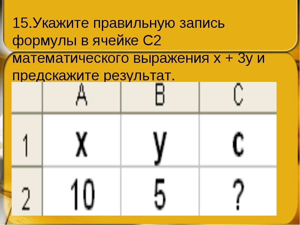 15.Укажите правильную запись формулы в ячейке С2 математического выраженияx...