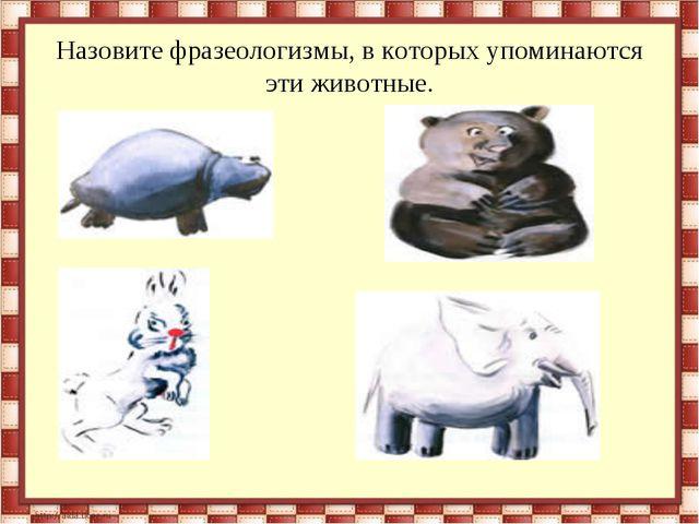 Назовите фразеологизмы, в которых упоминаются эти животные.