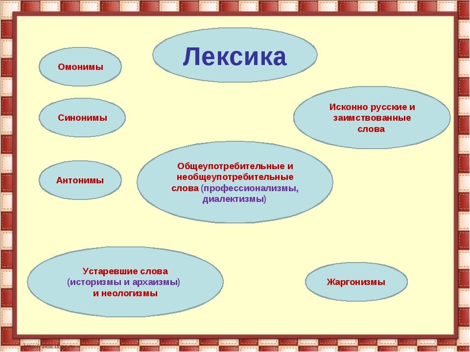 Лексика Синонимы Исконно русские и заимствованные слова Антонимы Омонимы Жарг...