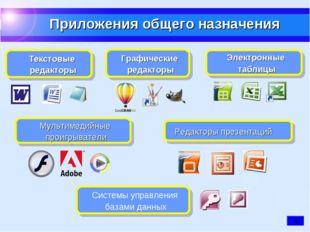 Редакторы презентаций Текстовые редакторы Электронные таблицы Графические ред