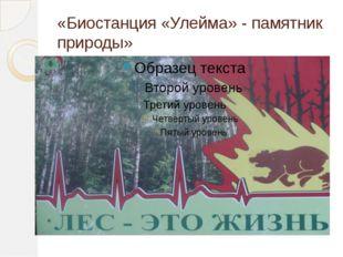 «Биостанция «Улейма» - памятник природы»