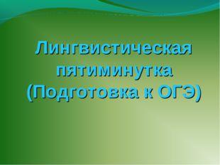 Лингвистическая пятиминутка (Подготовка к ОГЭ)