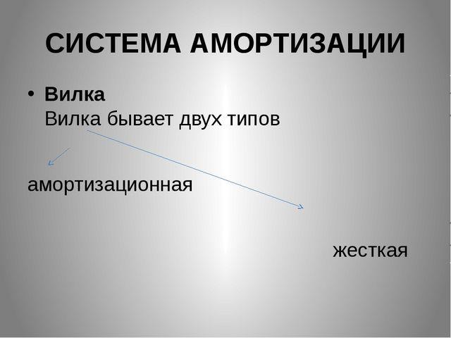 СИСТЕМА АМОРТИЗАЦИИ Вилка Вилка бывает двух типов амортизационная жесткая