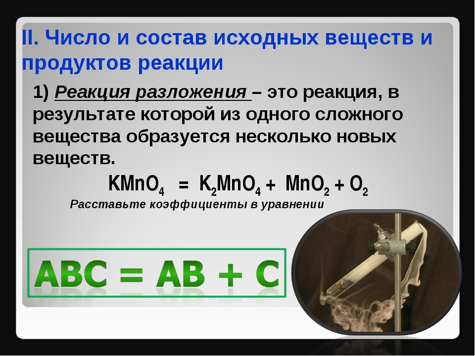 II. Число и состав исходных веществ и продуктов реакции 1) Реакция разложения...