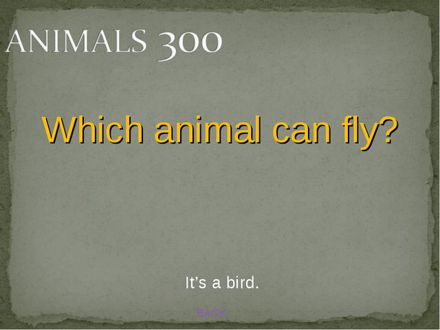 BACK Which animal can fly? It's a bird.
