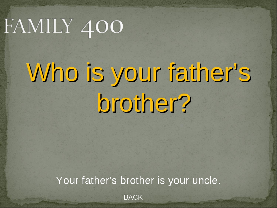 BACK Your father's brother is your uncle. Who is your father's brother?