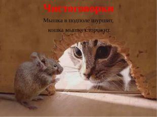 Чистоговорки Мышка в подполе шуршит, кошка мышку сторожит.