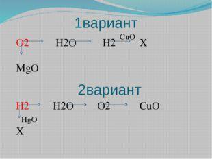 1вариант 2вариант O2 H2O H2 X MgO H2 H2O O2 CuO X CuO HgO
