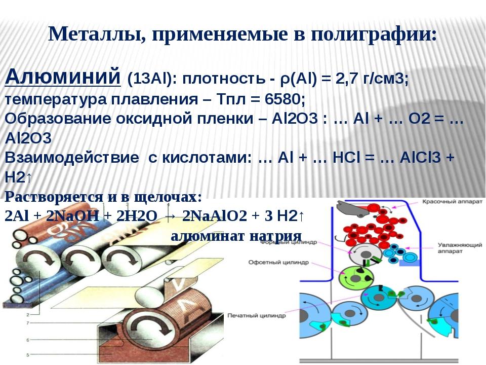 Металлы, применяемые в полиграфии: Алюминий (13Al): плотность - ρ(Al) = 2,7 г...