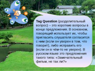 Tag Question (разделительный вопрос) – это короткие вопросы в конце предложе