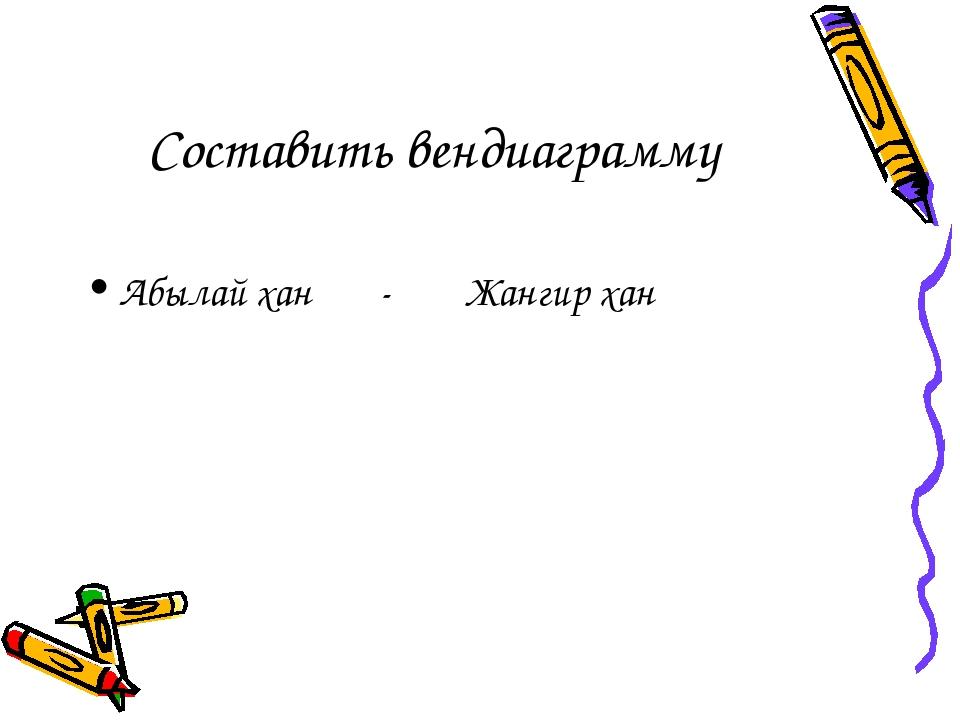 Составить вендиаграмму Абылай хан - Жангир хан