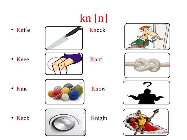 kn [n] Knife Knock Knee Knot Knit Know Knob Knight