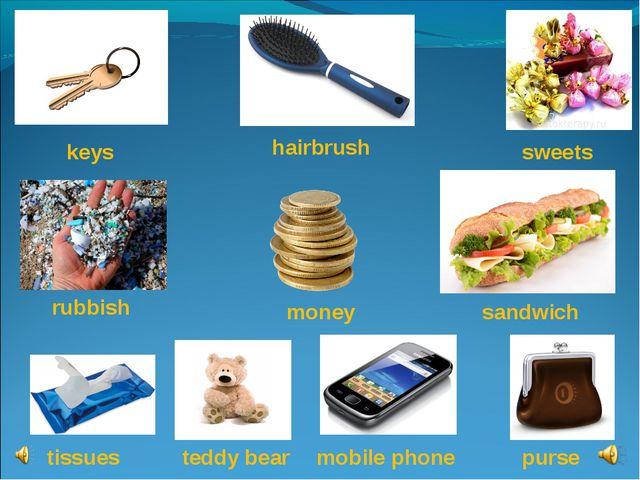 sweets sandwich keys money hairbrush mobile phone tissues rubbish purse teddy...